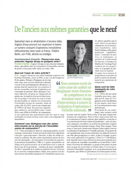 actualite immobilier Interview PDG Angelys Group dans le magazine Inves